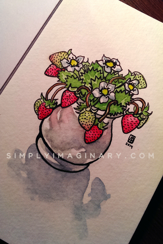watermarked strawberries