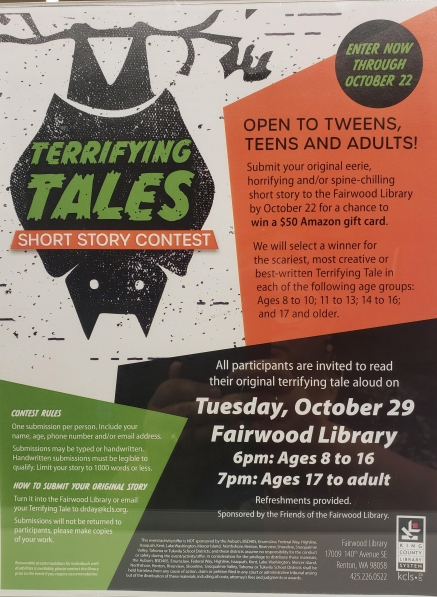 "Image of a ""Terrifying Tales: Short Stories Contest"" poster"